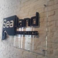 logo ze styroduru na transparentnej płycie plexi. płyta montowana do ściany na metalowych dystansach