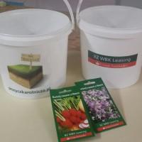 wiaderka z logo oraz nasiona warzyw i kwiatów